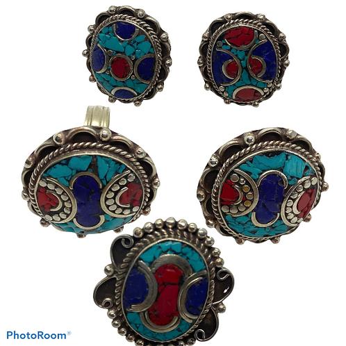 Ethnic Boho Style Turquoise Coral Lapis Lazuli Ring, Adjustable, Ethnic Tribal F