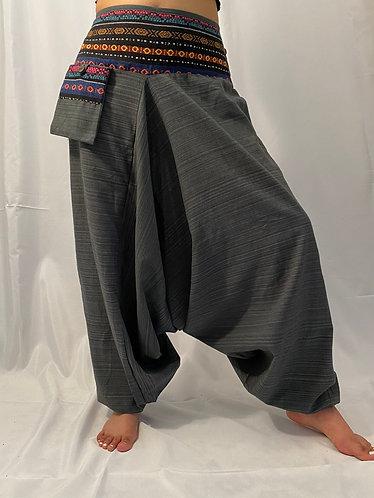 Grey Unisex Cotton Harem Pants