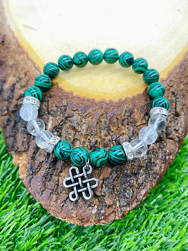 Handmade Malachite with Quartz Healing Bracelet with Infinity Chime/