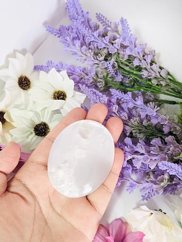Selenite Palm Stone, Reiki Crystal, Moon Glow Selenite Gemstones