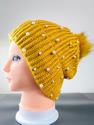 Pompom Fleece Lined Hat with Beads