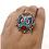 Thumbnail: Ethnic Boho Style Turquoise Coral Lapis Lazuli Ring, Adjustable, Ethnic Tribal F