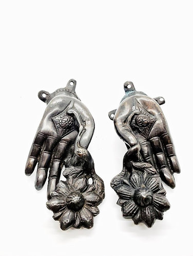 Handmade Blessing Lotus Hands of Buddha Door Knob Pair