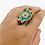 Thumbnail: Tibetan Turquoise/Coral/Lapis Lazuli Bohemian Brass Ring, Vintage Silver Amulet