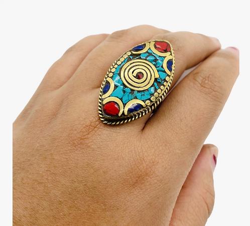 Tibetan Turquoise/Coral/Lapis Lazuli Bohemian Brass Ring, Vintage Silver Amulet