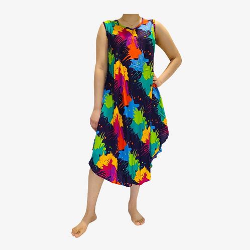 Colorful Printed Summer Dress/Slit Dress/Beach Coverup