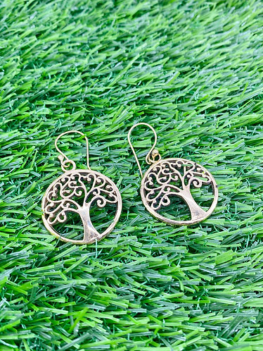 Handmade Brass Tree of Life Earring from Nepal