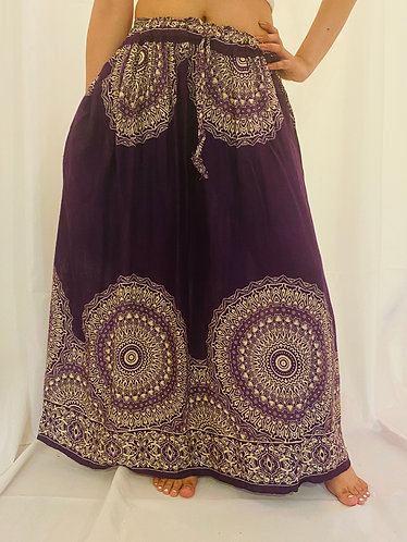 Purple Rayon Skirt with Mandala Print