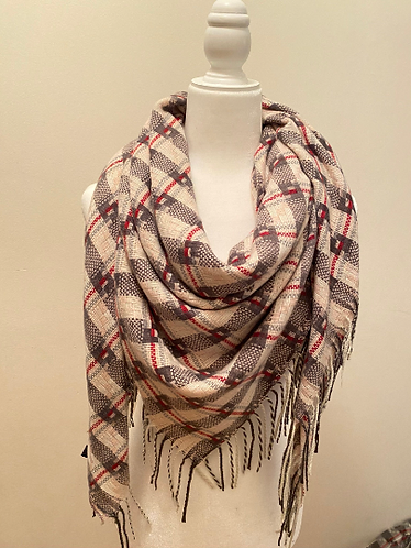 Winter Plaid Blanket Scarves, Square Scarves, Warm Scarfs, Winter Accessories, M