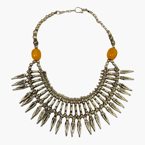 Silver Choker Necklace with Amber Beads