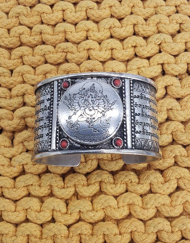 Wide Cuff Ganesh/ Ganesha Bracelet, Tribal Fusion Ganesh Tibetan Silver Bracelet