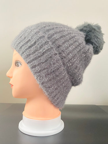 Solid Faux Pompom Hat with Fleece Lining