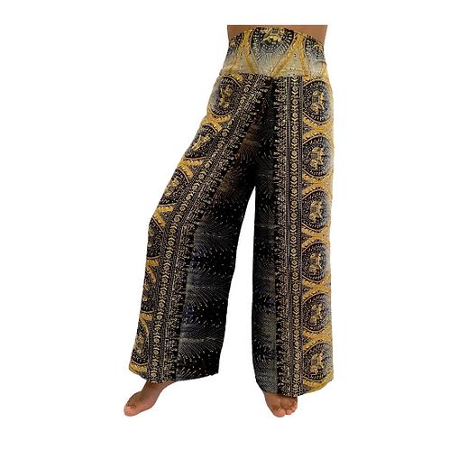 Summer Slit Pants/Elephant print Harem Pants/Beach Pants/Open Leg