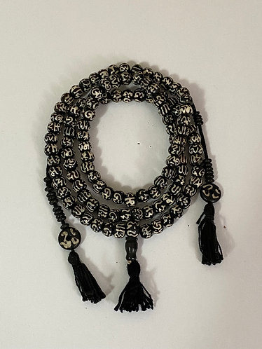 Yak Bone Prayer Beads with Om Symbol