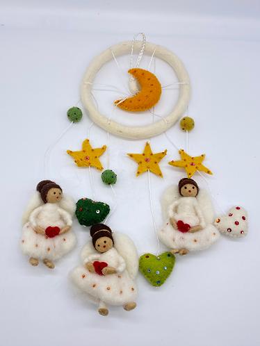 Handmade Felt  mobile, Nursery Decor, Angel, Moon, Star Mobile,Crib Mobile,Nurse