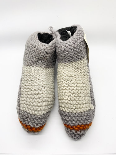 Hand Knitted Indoor Wool Grey Slippers