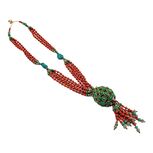 Coral Beaded Necklace, Bohemian Jewelry