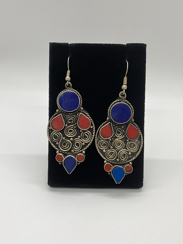 Exotic Nepali Earring with Lapis Lazuli and Coral