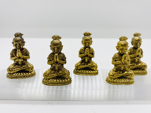 Handmade Brass Baby Buddha Statue, 2 inch Folding Hands Happy Baby Buddha, Good