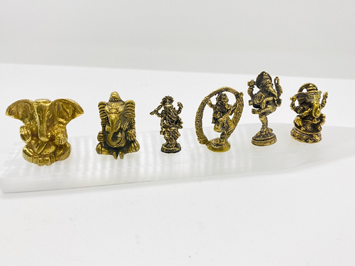Handmade Tiny Brass Ganesh Statue, Dancing Ganesh, Sitting Ganesh, Beautiful Tin