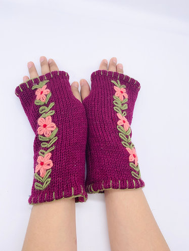 Handmade Crochet  Handwarmers with Flower Design with Fleece Lining