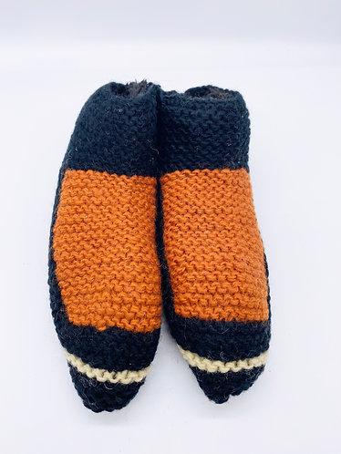 Handknitted Sherpa Indoor Wool Orange/Black Slippers