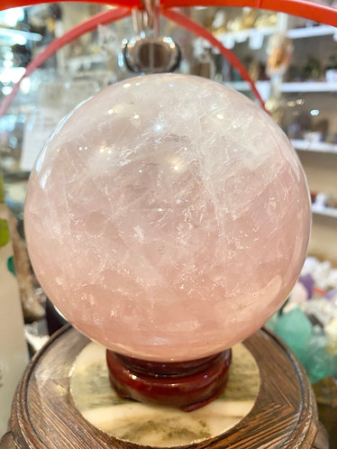 Rose Quartz Crystal Ball 6 inch (155 mm) Diameter with Wooden Stand
