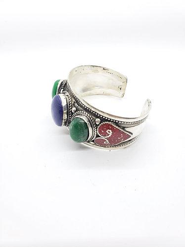 Ethnic Handmade Lapis Lazuli/Jade Cuff Metal Bracelet