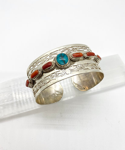 Handmade Silver Bracelet with Turquoise and Coral from Nepal