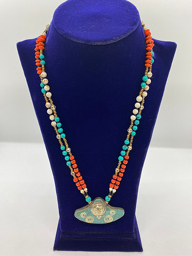 Handmade Turquoise/Coral Tibetan Tribal Fusion Necklace