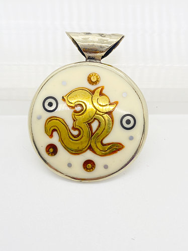 Double Sided Handmade Pendant with OM and Healing Mantra