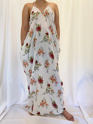 Long Adjustable Strap Dress with Flower Print