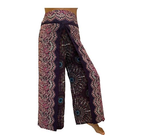 Summer Slit Pants,Wide Leg Rayon Pants,Harem Boho Pants,Mandala