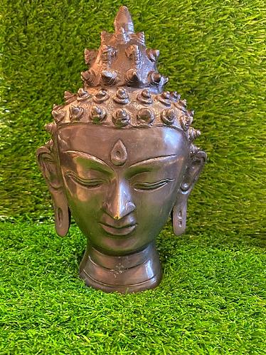 "Handmade Brass Buddha Head Statue, 8"" Buddha Tranquility Head, Lord Buddha Statu"