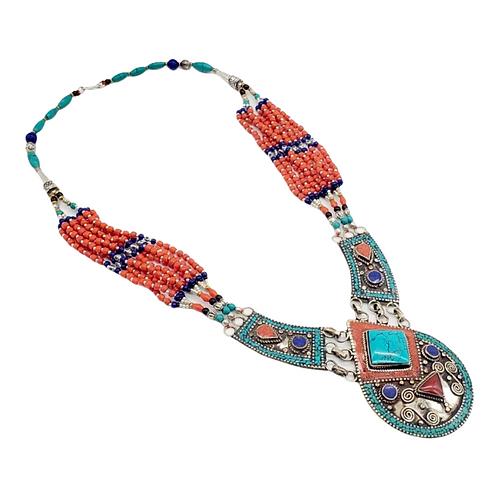 Chunky Women Turquoise, Coral, Lapis Lazuli Necklace/ Bohemian Jewelry