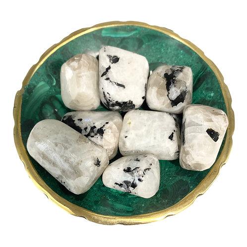 Rainbow Moonstone Tumbled Stones, Gemstone for Love, Good Fortune, Inner Growth