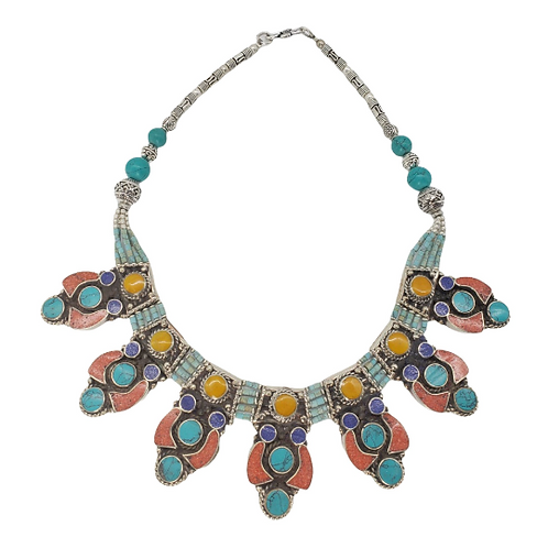 Tibetan Nepalese Turquoise Coral Amber Necklace