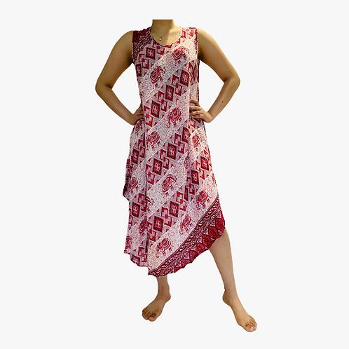Women Red Elephant Maxi Dress