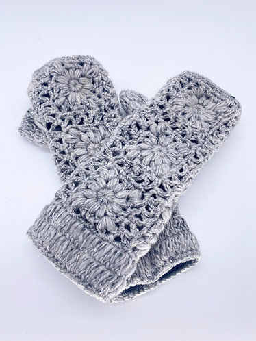 Handmade Crochet Handwarmers/ Fingerless Gloves with Fleece Lining