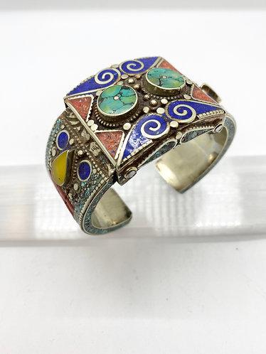 Tibetan Tribal Handmade  Fusion Bracelet with Inner Carvings