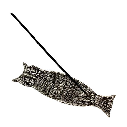 Owl Incense Burner/Long Metal Incense Burner/Handmade