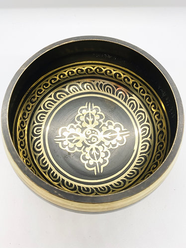 """4.8"""" Mantra Carved Handmade Singing Bowl from Nepal with Om Symbol"""