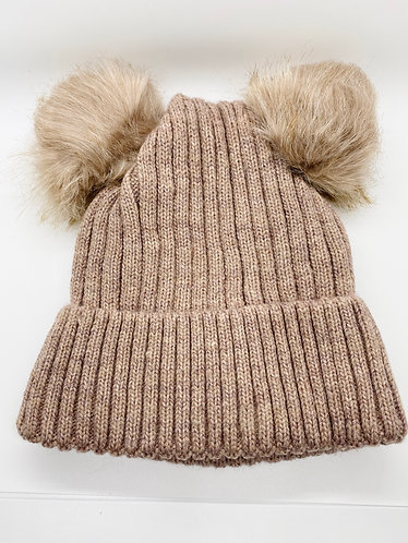Women Faux Fur Double Pompom Knitted  Hat