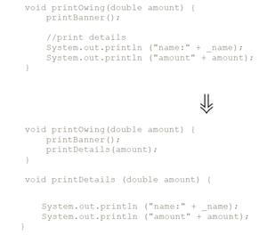 Código em Java mostrando como extrair método
