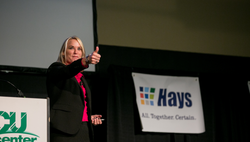 Kelly McDonald Speaker Thumbs Up