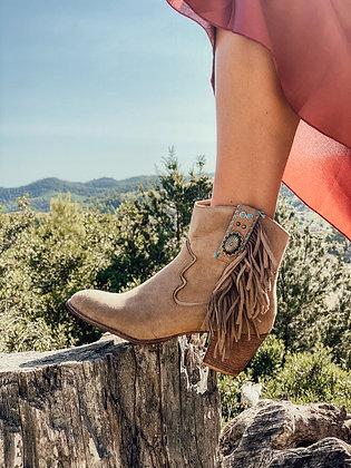 Beige Fringed Cowboy Boots