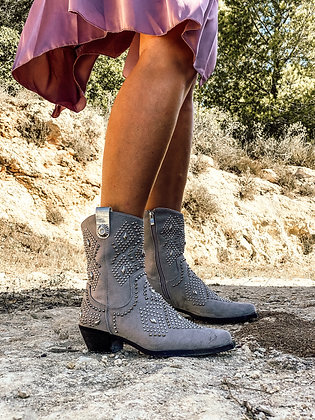 Nomad grey studded boots