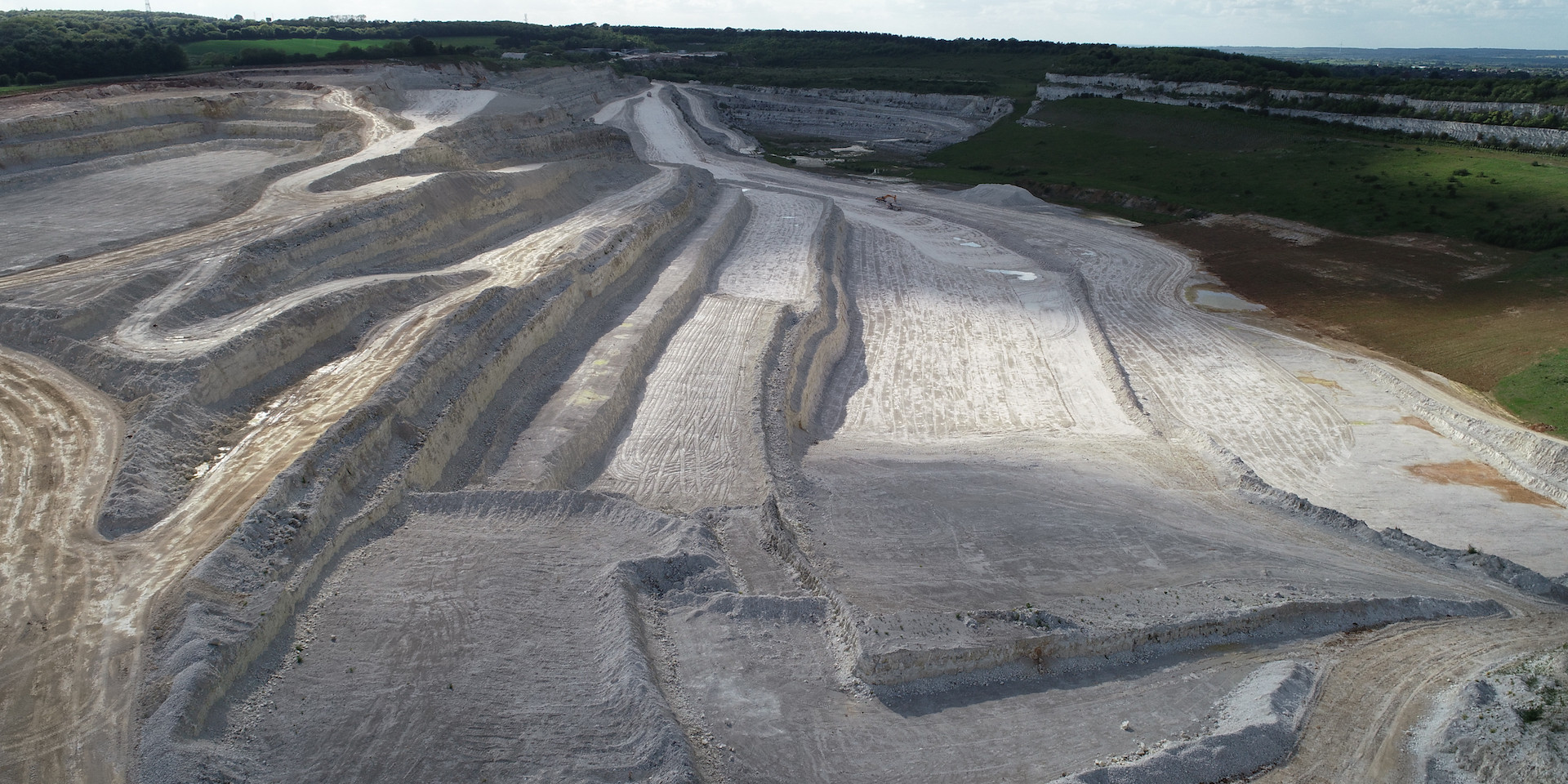 Aerial photo of deep excavations in Quarry