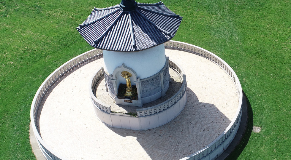 Drone Aerial Photo of Peace Pagoda in Milton Keynes