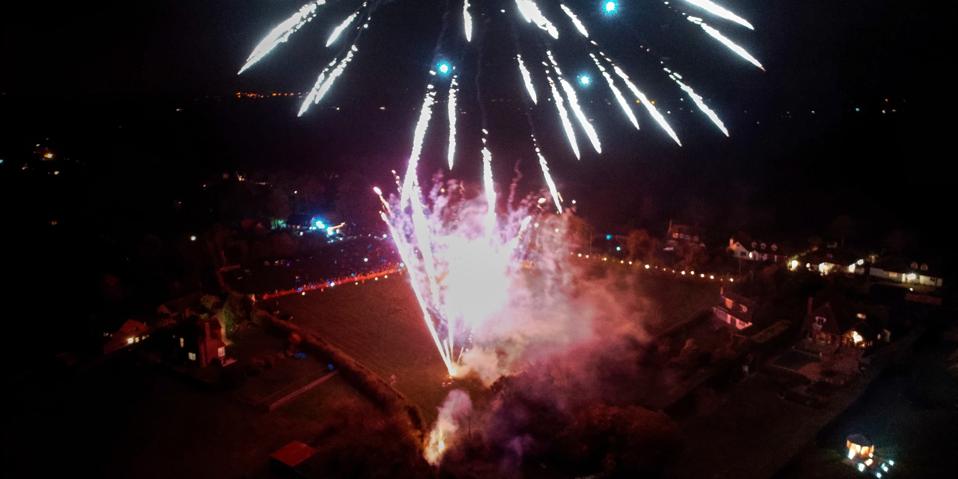 Aerial photo of fireworks